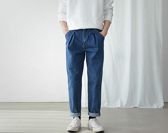 Pin-Tuck Wide Denim